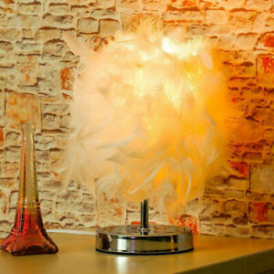 Feather Lampshade Table Lamp Bedside LED Desk Vintage Night Light Room Decor