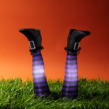 Battery Light Up Purple & Black Witches Legs Stake Lights White LED Lights4fun