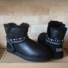 UGG Renn Swarovski Crystal Bling Black Bomber  Fur Mini Boots Size 10 Womens NEW
