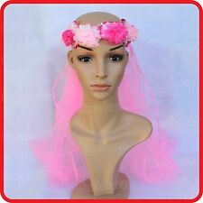 WEDDING FLOWER GIRL BRIDE FLORAL WREATH HEADBAND HEADDRESS TIARA VEIL/ TULLA
