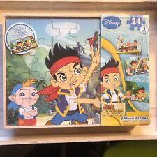 Disney 3 Wood Puzzles Jake And The Never Land Pirates NIB