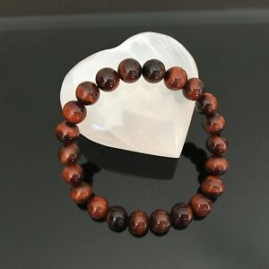 Handcrafted 8mm Natural AAA Red Tiger Eye Crystal Energy Beaded Bracelet