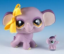 Littlest Pet Shop Elephant #1086 Mauve Purple With Yellow Eyes + Tiny Teensies