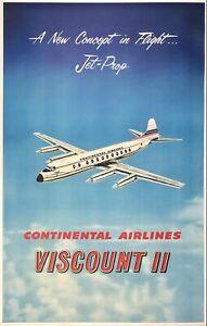 Original Vintage Poster CONTINENTAL AIRLINES VISCOUNT II Airline Travel LINEN
