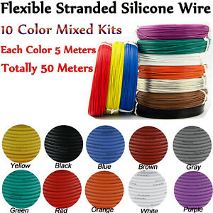 Flexible Stranded Silicone Tinned Copper Line 10 Colors Mixed Wire Kits 50 Meter