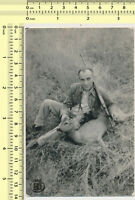 081 Man with Hunting Rifle Guy Hunter Dead Deer vintage photo original snapshot