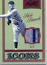 2016 PANINI PRIME CUTS ICONS HERB PENNOCK EMERALD GAME USED #D 3/3 1/1 RED SOX