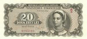 Romania 20 Lei Currency Banknote 1950 CU