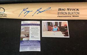 Byron Buxton Minnesota Twins Autographed Signed Engraved Bat Blonde JSA COA .