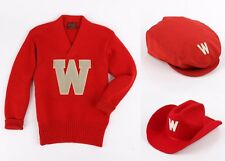 Vtg WISCONSIN BADGERS c.1940's Football Sweater Cowboy Newsboy Hat 3 Pc Set