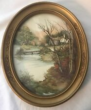 1983 Homco F. Massa Landscape Oval Print -Trees Creek And Home #3254 Very Good