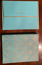 Set Of 10 Tiffany & Co. New Year Greeting Cards W/Envelopes, Teal & Gold Swirl