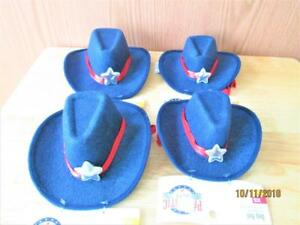 NWT 4 PATRIOTIC PETS  BLUE SHERIFF HAT FOR DOGS & DOLLS 2 SIZES 2 S/M & 2 XS/S
