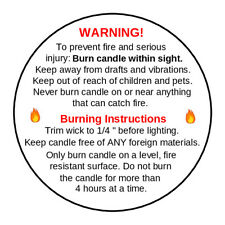 525 x Candle Warning Labels. Burning Safety Stickers. 37mm