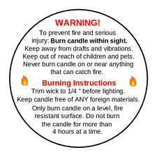 140 x Candle Warning Labels. Burning Safety Stickers. 37mm