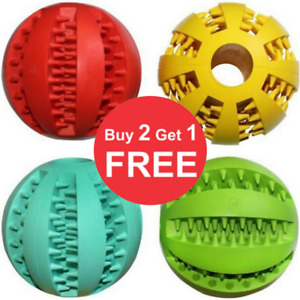 Pet Dog Puppy Rubber Chew Ball Rubber Ball Teething Durable Treat Clean Toys NEW