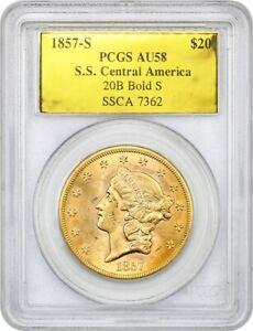 S.S. Central America: 1857-S Shipwreck $20 PCGS AU58 (Bold S, with CoA)