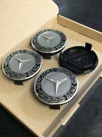 4x Mercedes Benz Alloy Wheel Centre Caps 75mm Badges Black Hub Emblem