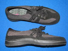 8 M Keds Sport Black Grey Gray Ladies Womens Tennis Shoes Striped Laces Walking