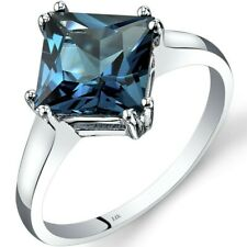 14K White Gold London Blue Topaz Solitaire Ring 2.75 Cts Princess Cut Sizes 5-9