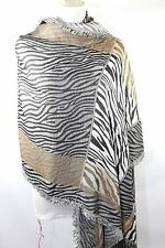 B64 Pashmina Black Beige Gold Animal Zebra Print Reversible Shawl Scarf Wrap