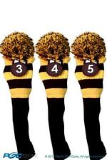 YELLOW golf head cover New 3 piece BLACK 3 4 5 KNIT Hybrid Rescue club headcover