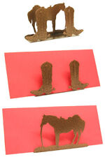 Horse & Cowboy Boots Copper Vein Metal Desk Accessory/Letter Holder