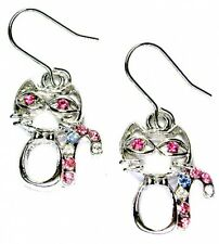 w Swarovski Crystal ~Candy Cane Cute KITTY CAT kitten Holiday Earrings XMAS Gift