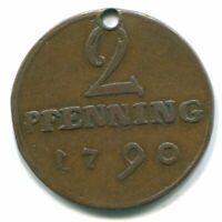 2 PFENNING 1790 MUNSTER DOM CAPITUL #DE10108.3DW