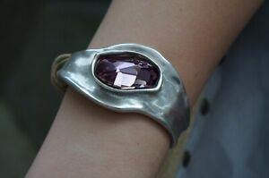NWT Uno De 50 Pink Elements Crystal BARBARA Leather Silver Cuff Bracelet