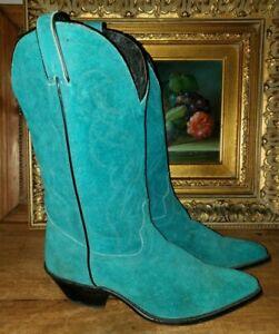 Vintage Alcalas rare turquoise suede western cowboy boots ladies 8 USA snip toe