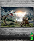 Dino Dinosaurs T-rex Triceratops Pterodactyl Prehistoric Art Poster Banner USA