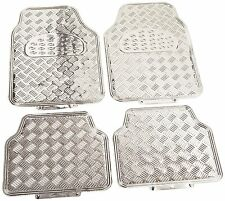 New Chrome Silver Metallic Car Truck Front Back All Weather Rubber Floor Mats