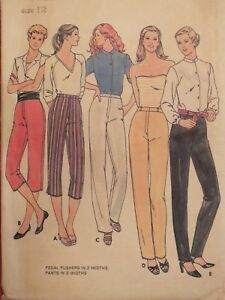 VTG BUTTERICK 6550 MS Fitted Pants in 2 lengths & Pedal Pushers PATTERN 12 UC