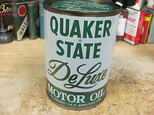 QUAKER STATE MOTOR OIL CAN 1 QT DE LUX tin METAL GAS SERVICE station VINTAGE