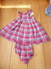 Ralph Lauren Madras controllato Rosa Blu Abito Ragazze Pantaloni Set di 18 MESI COTONE NUOVO