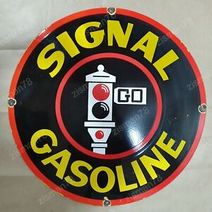 SIGNAL GASOLINE VINTAGE PORCELAIN SIGN 30 INCHES ROUND