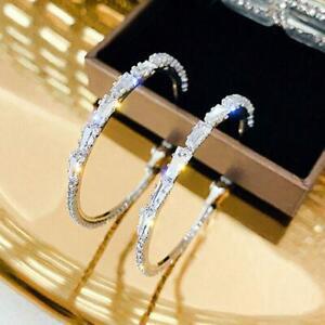Pretty 925 Silver Plated Hoop Earrings for Women Cubic Zirconia Wedding Jewelry