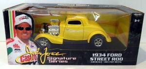 Ertl 1/18 Scale Diecast  32891 1934 Ford Street Rod Yellow John Force Series