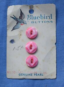 0066  Antique Blue Bird pink mother of pearl shell button card, bird graphic