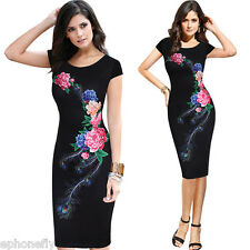 Summer Women Retro Floral Bodycon Party Pencil Evening Cocktail Midi OL Dresses