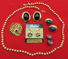 Napier Vintage Brooch Pin Earring Necklace Lot Black Green Lucite Gold 758g