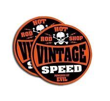 "Vintage Speed - 2"" Powered By Evil - Hot Rod Shop- 4 Stickers Orange 4 PACK  764"