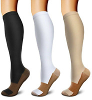 (3 Pairs) S-XXXL Copper Compression Support Socks 20-30mmHg Knee High Men/Women
