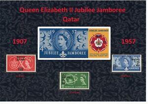 QEII NICE DISPLAY OF 1957 JUBILEE JAMBOREE SCOUTS SET QATAR MINT MNH