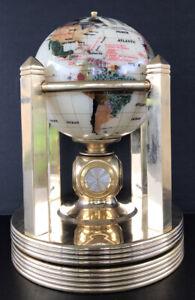 Kalifano Gemstone World Globe Mother Of Pearl Gemstone Gold Plated Rotating Base