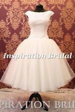 Satin Boat Neck Short Wedding Dresses