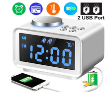 radio reloj bluetooth despertador alarma inalambrico recargable luz led fm