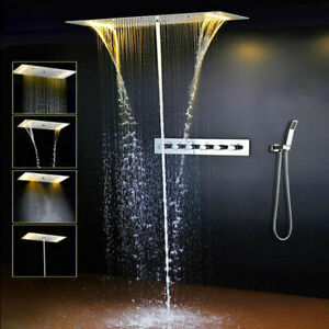 Bathroom Shower Set Hot and cold water Mixer LED Ceiling Waterfall Shower Head