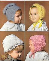 Vintage Patons 9831 Baby, Child, Loopy Hats, Bonnets Knitting Pattern DK